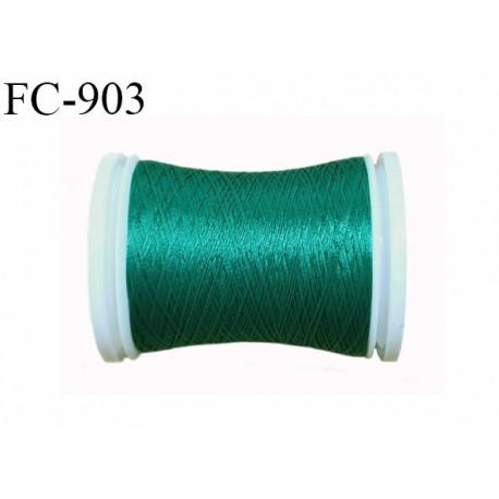 Bobine de 500 m fil mousse polyamide n° 120 couleur vert émeraude clair longueur de 500 mètres bobiné en France