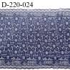 Dentelle 22 cm lycra brodée extensible très haut de gamme largeur 22 cm bandes jacquard couleur bleu denim prix au mètre