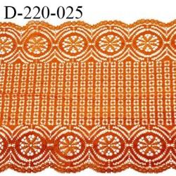 Dentelle 22 cm lycra très haut de gamme largeur 22 cm couleur orange cuivré fabriqué en France bandes jacquard prix au mètre