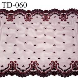 Dentelle 30 cm brodée sur tulle extensible couleur iris avec fil cuivré brodé haut de gamme douce largeur 30 cm prix pour 10 cm