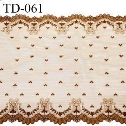 Dentelle 30 cm brodée sur tulle extensible couleur havane haut de gamme douce largeur 30 cm prix pour 10 cm