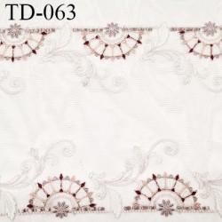 Dentelle 25 cm brodée sur tulle extensible couleur blanc haut de gamme douce largeur 25 cm prix pour 10 cm