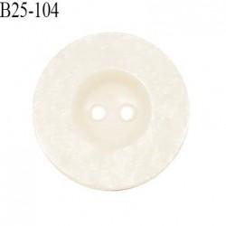 Bouton 25 cm en pvc couleur naturel écru 2 trous diamètre 25 mm prix à la pièce