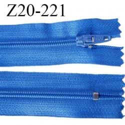 Fermeture zip 20 cm non séparable couleur bleu glissière nylon invisible largeur 5 mm longueur 20 cm prix à l'unité