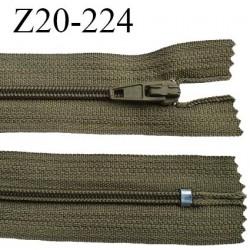 Fermeture zip 20 cm non séparable couleur kaki glissière nylon invisible largeur 5 mm longueur 20 cm prix à l'unité