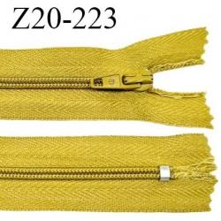 Fermeture zip 20 cm non séparable couleur moutarde glissière nylon invisible largeur 5 mm longueur 20 cm prix à l'unité