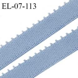 Elastique picot 7 mm lingerie couleur bleu ciel largeur 7 mm haut de gamme Fabriqué en France prix au mètre