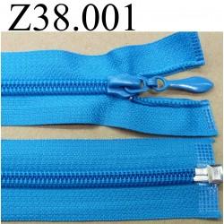 fermeture éclair longueur 38 cm couleur bleu turquoise séparable zip nylon  largeur 3.2 cm largeur du zip 6.5 mm curseur métal