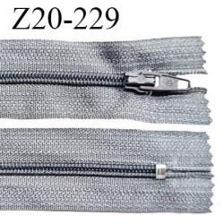 Fermeture zip 20 cm non séparable couleur gris souris glissière nylon invisible largeur 5 mm longueur 20 cm prix à l'unité