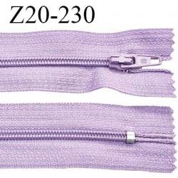 Fermeture zip 20 cm non séparable couleur parme glissière nylon invisible largeur 5 mm longueur 20 cm prix à l'unité