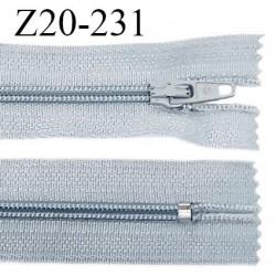 Fermeture zip 20 cm non séparable couleur gris bleuté glissière nylon invisible largeur 5 mm longueur 20 cm prix à l'unité