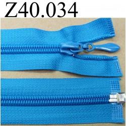 fermeture éclair longueur 40 cm couleur bleu turquoise séparable zip nylon  largeur 3.2 cm largeur du zip 6.5 mm curseur métal