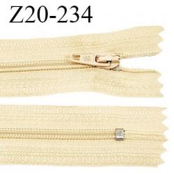 Fermeture zip 20 cm non séparable couleur beige jaune paille glissière nylon invisible longueur 20 cm prix à l'unité
