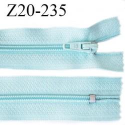 Fermeture zip 20 cm non séparable couleur bleu ciel glissière nylon invisible largeur 5 mm longueur 20 cm prix à l'unité