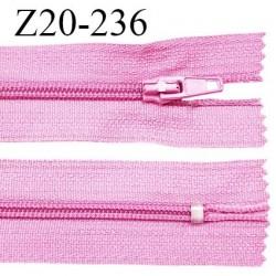 Fermeture zip 20 cm non séparable couleur rose glissière nylon invisible largeur 5 mm longueur 20 cm prix à l'unité