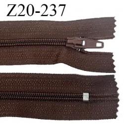 Fermeture zip 20 cm non séparable couleur marron glissière nylon invisible largeur 5 mm longueur 20 cm prix à l'unité