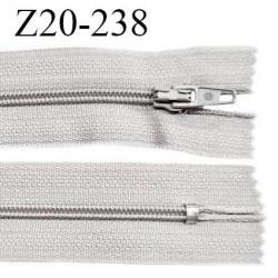 Fermeture zip 20 cm non séparable couleur gris perle glissière nylon invisible largeur 5 mm longueur 20 cm prix à l'unité