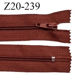 Fermeture zip 20 cm non séparable couleur rouge brun glissière nylon invisible largeur 5 mm longueur 20 cm prix à l'unité