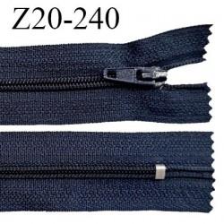 Fermeture zip 20 cm non séparable couleur bleu marine glissière nylon invisible largeur 5 mm longueur 20 cm prix à l'unité