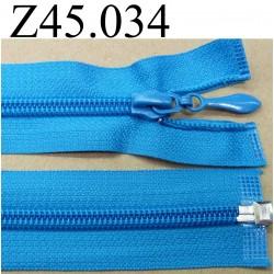 fermeture éclair longueur 45 cm couleur bleu turquoise séparable zip nylon  largeur 3.2 cm largeur du zip 6.5 mm curseur métal