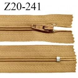 Fermeture zip 20 cm non séparable couleur ocre glissière nylon invisible largeur 5 mm longueur 20 cm prix à l'unité