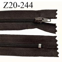 Fermeture zip 20 cm non séparable couleur marron foncé glissière nylon invisible largeur 5 mm longueur 20 cm prix à l'unité
