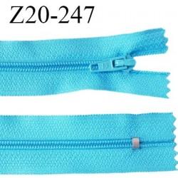 Fermeture zip 20 cm non séparable couleur bleu turquoise glissière nylon invisible largeur 5 mm longueur 20 cm prix à l'unité