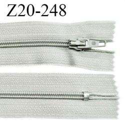 Fermeture zip 20 cm non séparable couleur gris clair glissière nylon invisible largeur 5 mm longueur 20 cm prix à l'unité