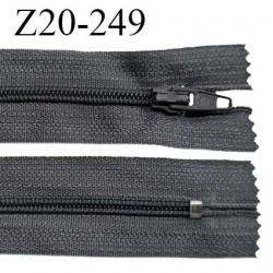 Fermeture zip 20 cm non séparable couleur gris foncé glissière nylon invisible largeur 5 mm longueur 20 cm prix à l'unité