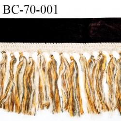 Galon ruban 70 mm velours couleur marron largeur 7 cm avec crochet et franges hauteur totale 23 cm prix pour la laize de 150 cm