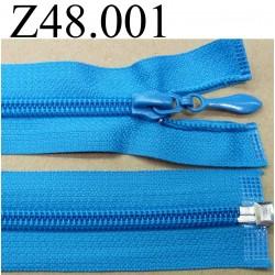 fermeture éclair longueur 48 cm couleur bleu turquoise séparable zip nylon  largeur 3.2 cm largeur du zip 6.5 mm curseur métal