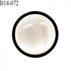 Bouton 14 mm en pvc couleur nacre bombé sur socle noir diamètre 14 mm accroche avec un anneau prix à la pièce