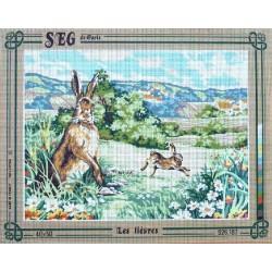 Canevas à broder 40 x 50 cm marque SEG de Paris Thème animaux LES LIEVRES fabrication française
