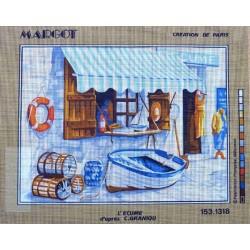 Canevas à broder 40 x 50 cm marque MARGOT création de Paris Thème la mer l'écume d'après C.Graniou
