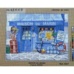 Canevas à broder 40 x 50 cm marque MARGOT création de Paris Thème la mer MAISON DU MARIN d'après Morel