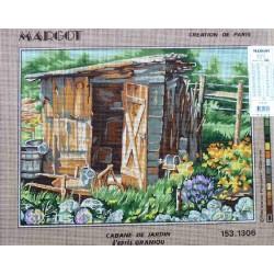Canevas à broder 40 x 50 cm marque MARGOT création de Paris Thème NATURE cabane de jardin d'après Graniou