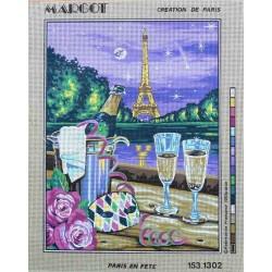 Canevas à broder 40 x 50 cm marque MARGOT création de Paris Thème PARIS EN FETE fabrication française