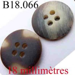 bouton 18 mm couleur marron marbré gris vainé 4 trous diamètre 18 mm