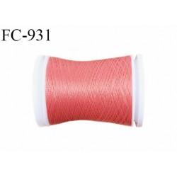 Bobine 500 m fil mousse polyester n° 110 couleur rose corail longueur 500 mètres  bobiné en France