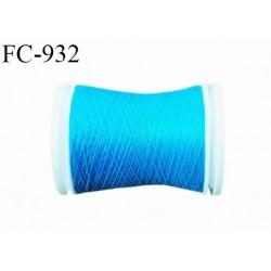 Bobine 500 m fil mousse polyester n° 110 couleur turquoise longueur 500 mètres  bobiné en France
