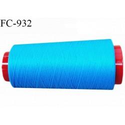 Cone 1000 m fil mousse polyester fil n° 110 couleur turquoise longueur 1000 mètres bobiné en France