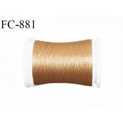 Bobine 500 m fil mousse polyamide n° 120 couleur cuir caramel longueur de 500 mètres bobiné en France
