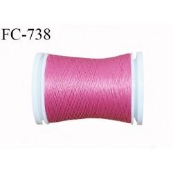 Bobine 500 m fil mousse polyester n° 110 couleur rose malabar longueur 500 mètres  bobiné en France