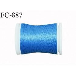 Bobine 500 m fil mousse polyester n° 110 couleur bleu longueur 500 mètres  bobiné en France