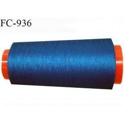 Cone 2000 m fil mousse polyester fil n° 110 couleur bleu azur longueur 2000 mètres bobiné en France