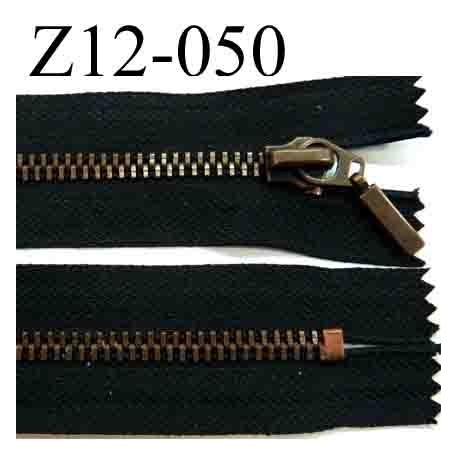 fermeture éclair longueur 12 cm couleur noir non séparable zip métal couleur bronze  largeur 3,1 cm largeur du zip 5 mm