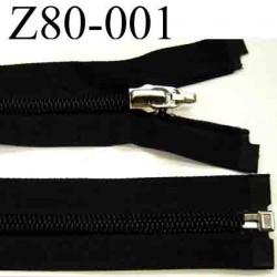 fermeture éclair longueur 80 cm couleur noir  séparable zip nylon largeur 3,1 cm largeur de la glissière 6.5 mm curseur métal