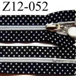 fermeture éclair 12cm  noir a points blanc non séparable glissière nylon couleur  largeur 3cm glissière 6mm curseur métal