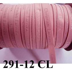 élastique de marque christian lacroix inscription en surpiquage couleur rose camèlia largeur 12 mm vendue au mètre