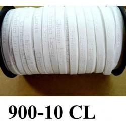 élastique de marque christian lacroix inscription en surpiquage couleur blanc largeur 10 mm vendue au mètre